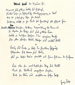 Gedicht Manuskript Georg Trakl - An Mauern hin - Lyrik-Literatur Glarean-Magazin