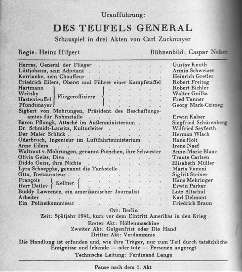 """""""Nur zum Teil durch tatsächliche Ereignisse und Personen angeregt"""": Theater-Anzeige der Uraufführung von """"Des Teufels General"""""""