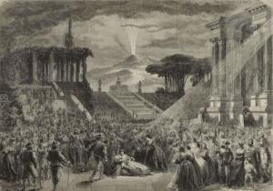 """Gigantomanie der Pariser """"Grand Opera"""": Hunderte Komparsen und Requisiten für die """"Stumme"""" von Auber mit einem beispiellosen technischen Aufwand"""
