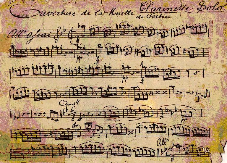 "Autograph der ""Muette""-Ouvertüre von Daniel Auber (Klarinetten-Part)"