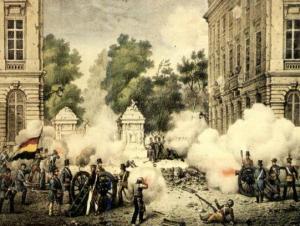 """Von der Bühne auf die Straße: Ein aufgewühltes """"Muette""""-Opernpublikum errichtet Barrikaden und wird mit schwerem Geschütz bekämpft"""