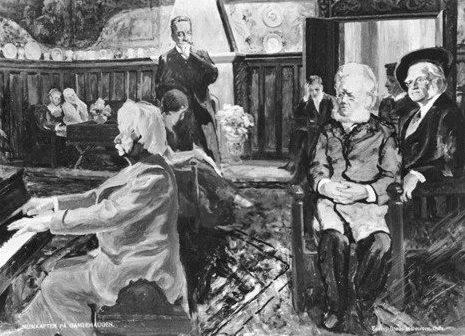 Grieg am Klavier, Ibsen als Zuhörer (Postkarte von 1905, Bergen)