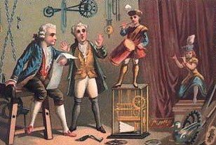 Jacques Vaucansons mechanischer Trommler (Zeitgenössische Postkarte)