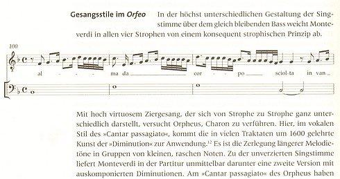 """Leseprobe 2 aus: Bernhard Morbach, Die Musikwelt des Barock (""""Gesangsstile im Orfeo"""")"""