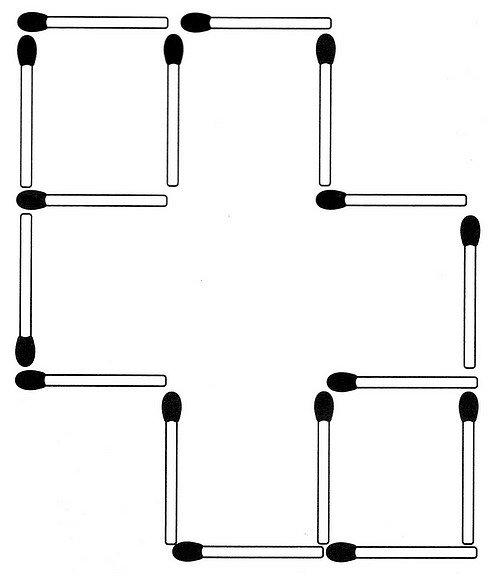 Vier Streichhölzer müssen so umgruppiert werden, dass ein großes und vier kleine Rechtecke entstehen