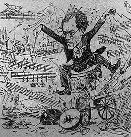 Dirigent Gustav Mahlers Kakaphonie (Zeitgenössische Karikatur)