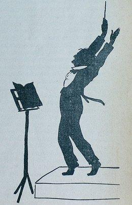 Dirigent Richard Wagner erstürmt den Himmel (Zeitgenössische Karikatur)