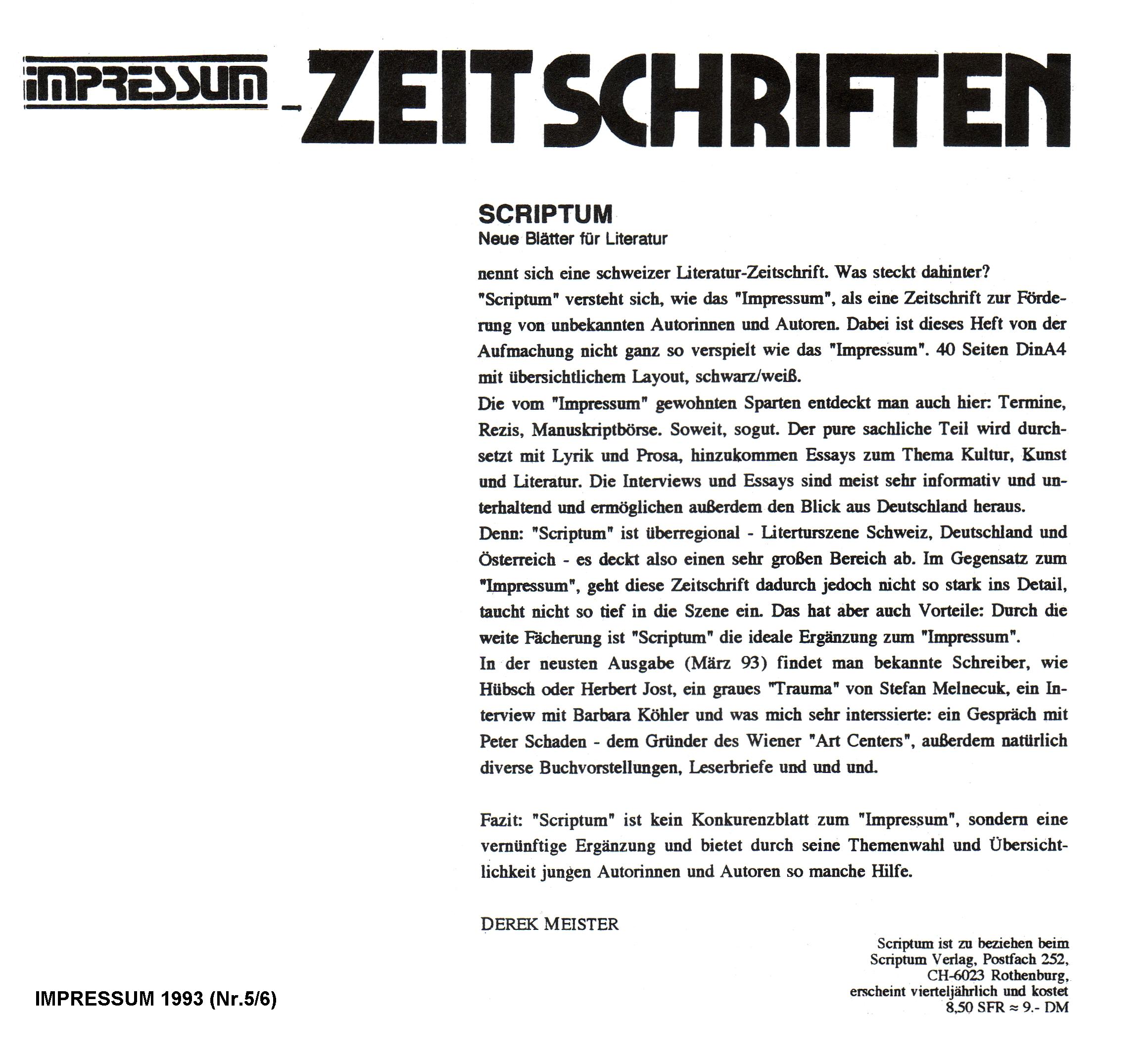 """SCRIPTUM-Rezension in """"Impressum"""""""