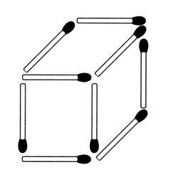 10 Streichhölzer bilden hier 3 gleichseitige Vierecke. Nun sollen aus 9 Streichhölzern ebenfalls 3 gleichseitige Vierecke entstehen - Lösung