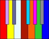 """Musikalische Synästhesie: Die Skrjabin-Klaviatur mit Ton-Farbe-Zuordnung (""""Farbenklavier"""")"""