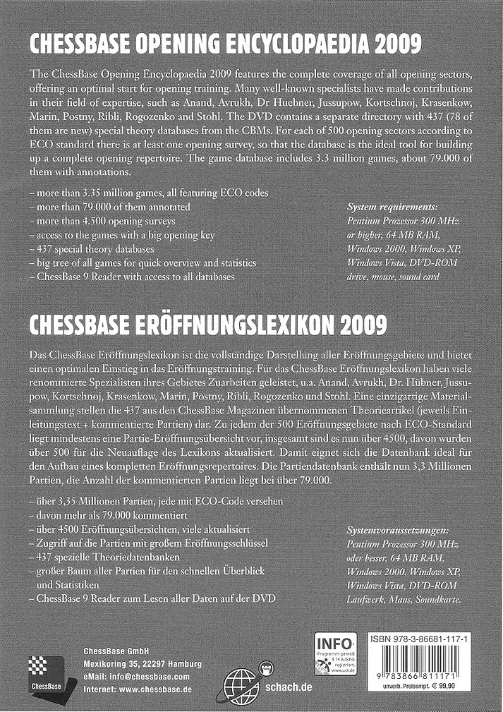 Back-Cover der «Opening Encyclopaedia» von Chessbase