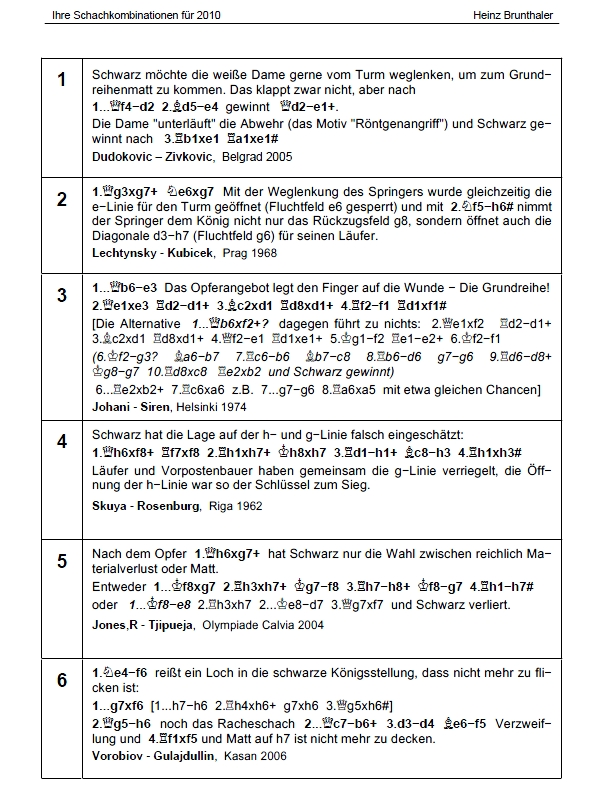 """Heinz Brunthaler: """"Ihre Schachkombinationen für 2010"""" - Leseprobe 2"""
