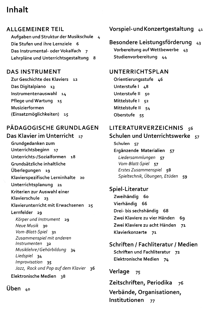 Verband Deutscher Musikschulen: Lehrplan Klavier (Bosse Verlag) - Inhaltsverzeichnis