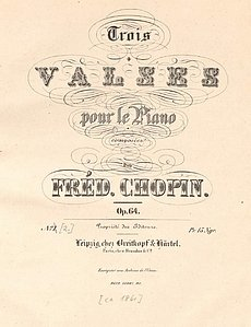 Deckblatt der Breitkopf&Härtel-Ausgabe von Chopins Opus 64 (Trois Valses pour le Piano, ca. 1861)