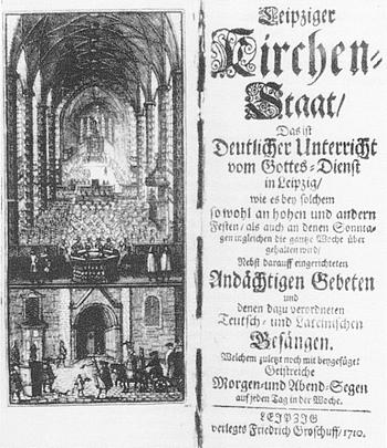 «Deutlicher Unterricht vom Gottes=Dienst in Leipzig»: Der Leipziger «Kirchenstaat» von 1710 (links die Nicolai-Kirche)