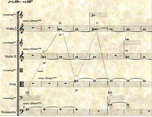 «Sphärischer Klangbrei mit Hilfe von Drittelston-Stimmung»: Partitur-Auszug von David Gortons Streichquartett «Trajectories»