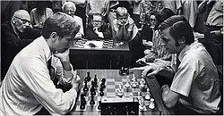 Hartes Training: Youngster Andrew Soltis (r.) in New York gegen die Schach-Legende Bobby Fischer