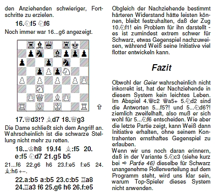 Lesefreundliches Schriftbild, schönes Layout, inkl. «Fazit»: Auszug der «Geier»-Analyse von Valeri Bronznik
