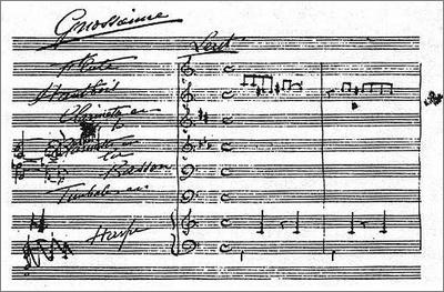 «Genussvolle Langeweile»: Erik Saties Skizze für die Orchestrierung eines seiner «Gnossiennes»