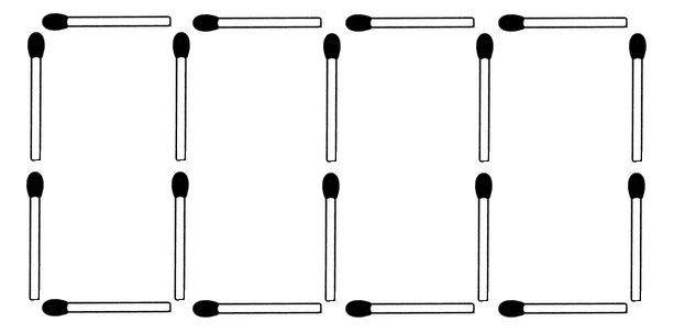 Legen Sie zwei Streichhölzer so um, dass fünf Quadrate entstehen.