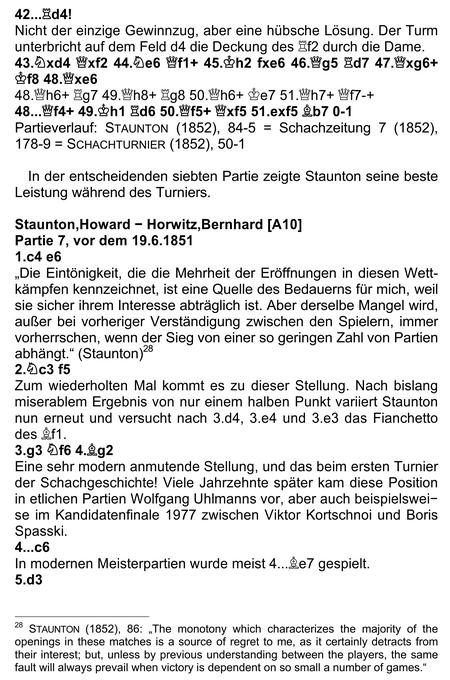 Analysen-Beispiel der Partie Staunton-Horwitz