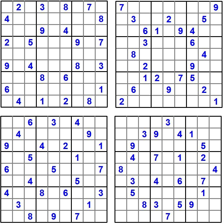 Sudoku 1-4 - Juli 2016 - Glarean Magazin (Aufgaben)