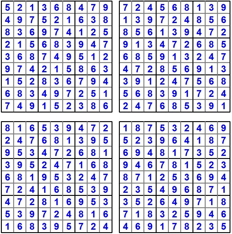 Sudoku 1-4 - Juli 2016 - Glarean Magazin (Loesungen)