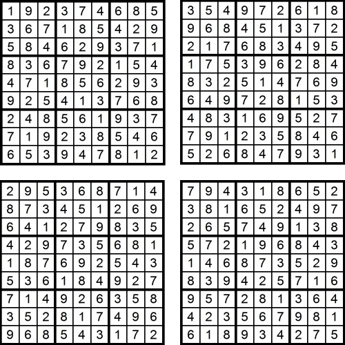 Vier neue Sudoku-Rätsel im Mai 2016 (Lösungen)