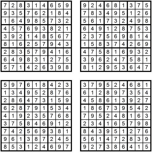 Vier sehr einfache Sudoku-Rätsel (Juni 2017) - Lösungen