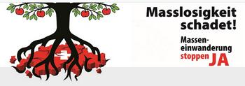 """""""Was Politiker, Stimmbürger und Beamte in die Wege geleitet haben, wird von Presse, Rundfunk und Fernsehen vernachlässigt oder verharmlost und somit gutgeheissen"""": Abstimmungs-Plakat der Schweizerischen Volkspartei (SVP) für ihre Initiative """"Masseneinwanderung stoppen"""""""