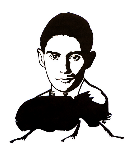 Franz Kafka - Scherenschnitt von Simone Frieling (Juli 2017 - Glarean Magazin)