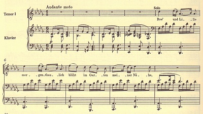 """Geniale Männerchor-Musik mit prophetischem Titel: Der Anfang von Schuberts """"Im Gegenwärtigen Vergangenes"""" für vier Männerstimmen und Klavier D710, nach Goethes """"West-Östlicher Diwan"""" (Quelle Chorpartitur: Breitkopf & Härtel Verlag)"""