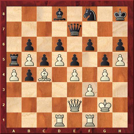 Zubetonierte Schluss-Stellung einer Anti-Computerschach-Partie von P. Restrepo gegen Stockfish