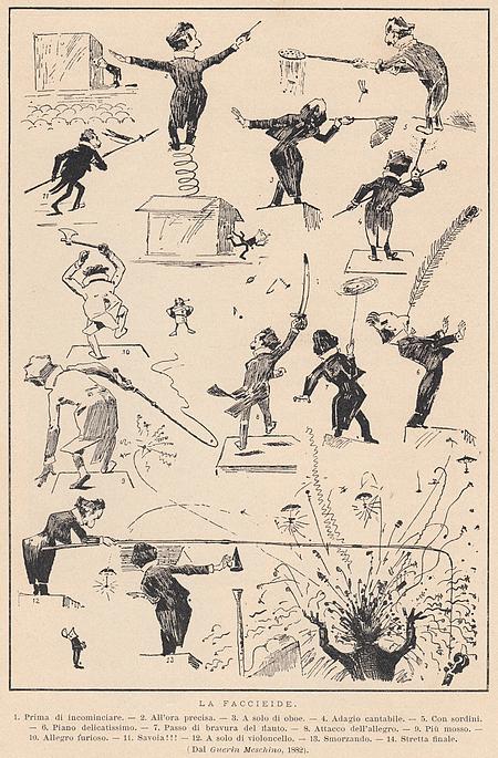 """""""Wie ein dressierter Pinguin im verdunkelten Saal auf ein beleuchtetes Holzgestell watschelnd"""": Zeitgenössische Karikatur """"Der Dirigent"""" von Franco Faccio (1882)"""