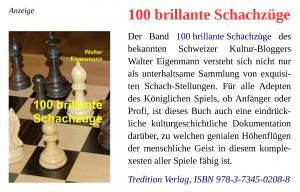 Walter Eigenmann - 100 brillante Schachzüge - Werbe-Banner - Tredition Verlag