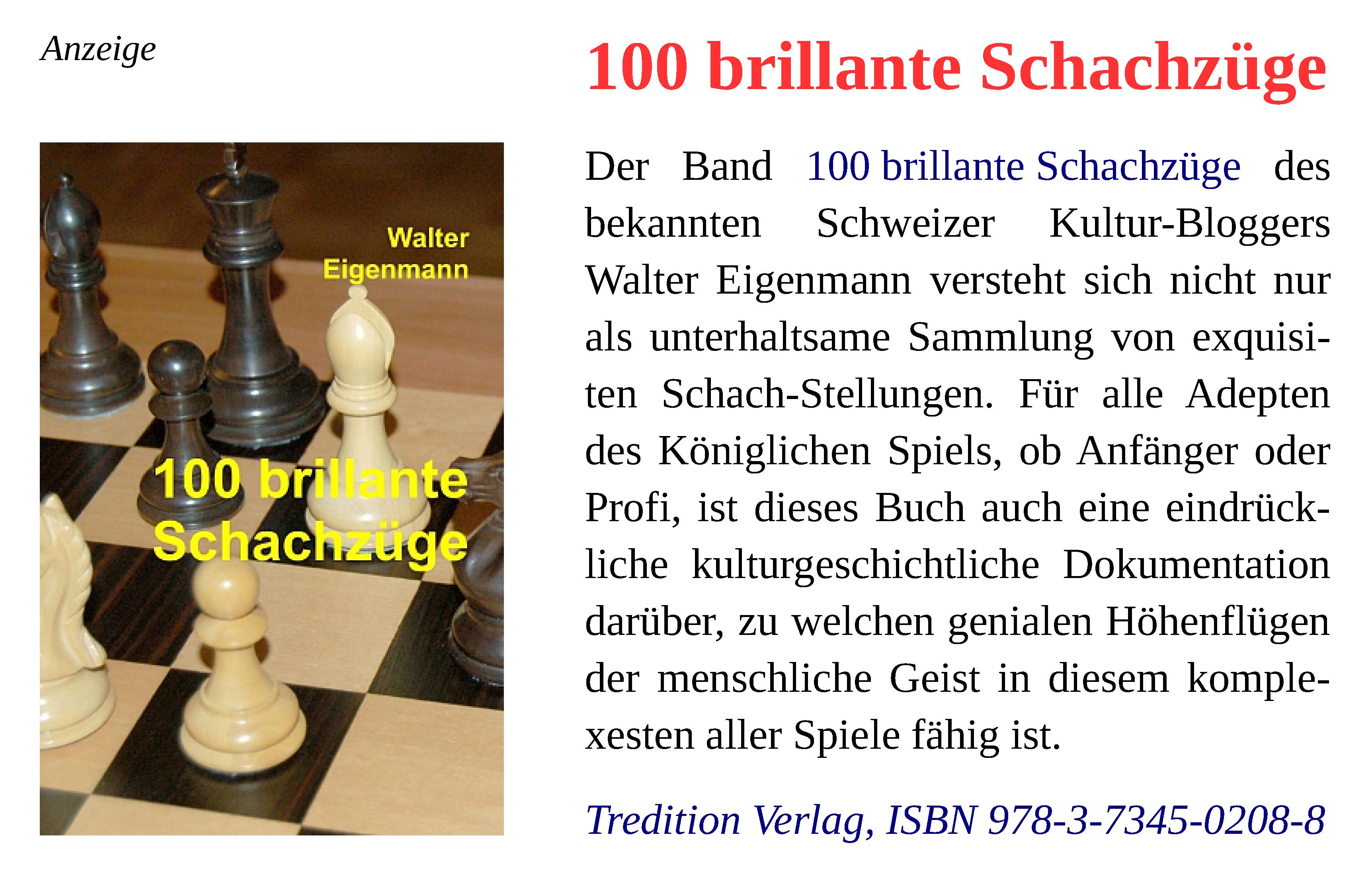 Walter Eigenmann - 100 brillante Schachzüge - Tredition Verlag