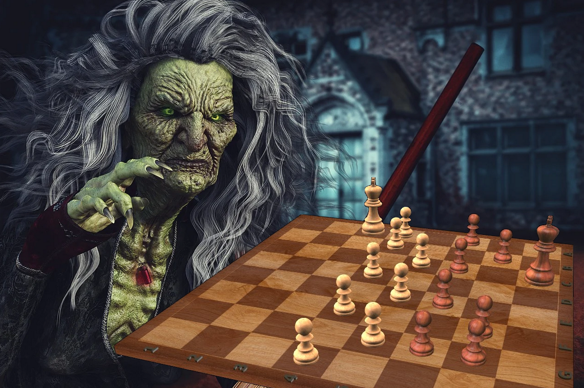 The Halloween Chess Witch 2020 Halloween-Hexe-spielt-Schach-Halloween-Chess-Witch-plays-Chess-Glarean-Magazin-2020